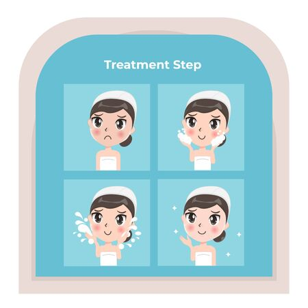 The girl shows the treatment step to clean the face thoroughly and nourish the face to look beautiful for younger without wrinkles. Premium Vector