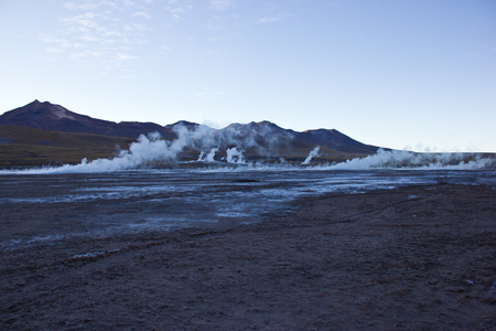 Geyser del Tatio in Chile before sunrise