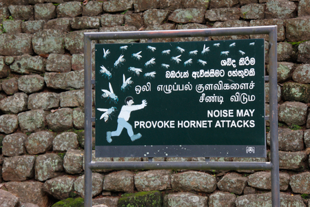 Sign: Beware of hornet attack on Lions rock  Sigiriya