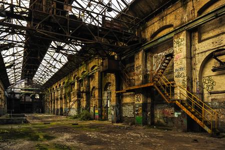 Long and empty industry hall Banco de Imagens