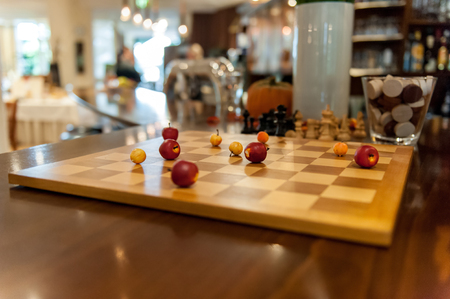 Chess board with apples