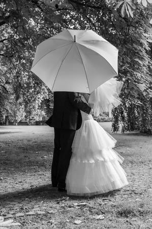 Bride and groom with white umbrella Фото со стока