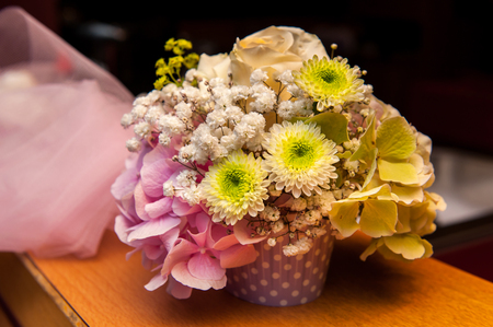Green and pink flower bouquet