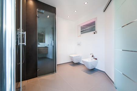 Modern bathroom with glass doors Фото со стока