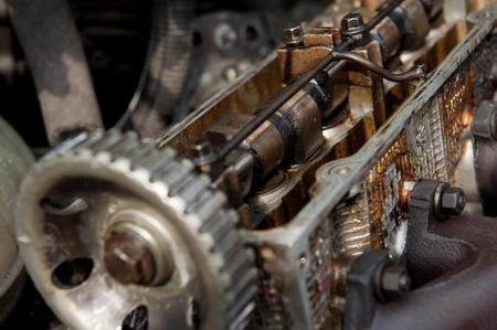 Inside old car engine on scrap yard