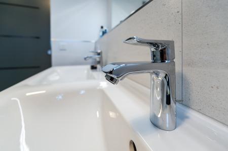 Double washbasin in bathroom Фото со стока