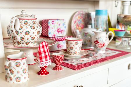 Tea set and cup in wood board Фото со стока