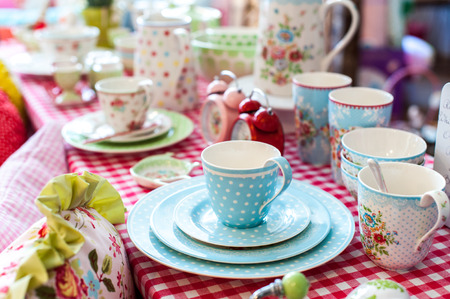 Beautiful porcelain tea set on table
