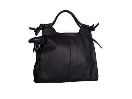 Black leather handbag isolated on white background Фото со стока