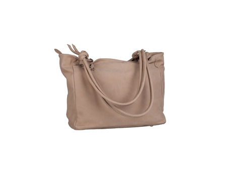 Light brown leather handbag isolated on white background