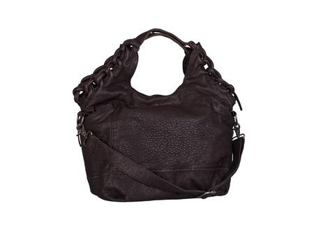 Dark brown leather handbag isolated on white background