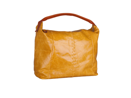 Orange leather handbag isolated on white background Imagens