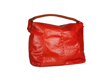 Red leather handbag isolated on white background Фото со стока