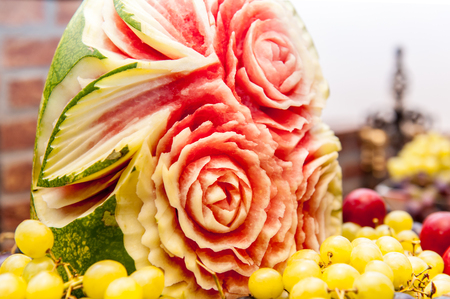 Water melon floral ornament carving 스톡 콘텐츠
