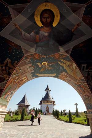 Beautiful Zosin monastery in north-east Romania, in Moldavia. Foto de archivo - 150039433