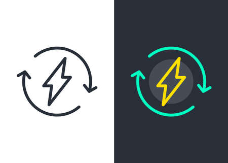 Energy circle vector icon. Bolt flash symbol. Power. Recycle. Voltage.