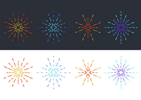 Fireworks linear icons set. Round sunburst symbol isolated. Vector illustration. Fireworks flat icon