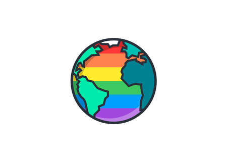 LGBT + World, planet, earth vector isolated flag colors of LGBT + for LGBT + activism, pride week, pride parade, pride festival, pride walk. map 矢量图像