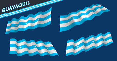 Guayaquil - ECUADOR city flag. Light blue and white. White stars. Flat and waving Guayaquil Flag. Vector illustration. Flag wavy abstract background.