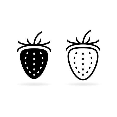 Strawberry line vector icon graphic logo illustration. Flat fresh berry fruit symbol. Element food outline. Strawberry. Strawberry. Çizim