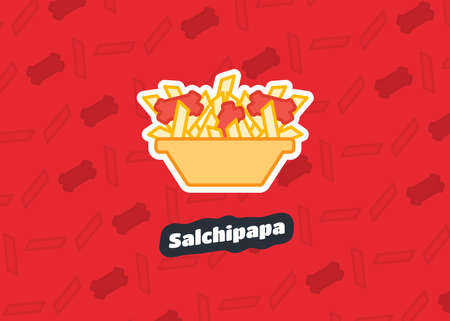 Salchipapa. Street food and typical traditional Latin American dish. Vector illustration icon food. Lunch meal. French fries. Sausages. Ecuador. Peru. Venezuela. Colombia. Bolivia. Tasty. Snack Food.