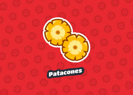 Patacon. Street food and typical traditional Latin American dish. Vector illustration icon food. Lunch meal. Banana fries. Sausages. Ecuador. Peru. Venezuela. Colombia. Bolivia. Tasty. Snack Food. 矢量图像