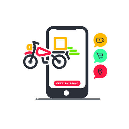 Free shipping. Fast moving shipping delivery motorcycle line art vector icon for transportation apps and websites for E-commerce. Comes out. Deliver. Distribution. Website. App. Digital Store.