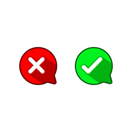 Good bad symbols. Color speech bubble like do's and don'ts. flat simple modern illustration. Concept of checklist element and reject or accept symbol.