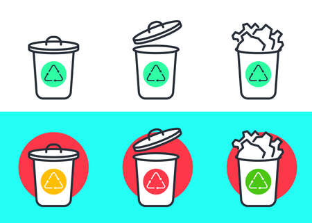 Garbage can linear icons set. Trash. Container. Recycle. Symbol. Vector. Delete. Bucket. Reuse. Eco. Ecology. Çizim