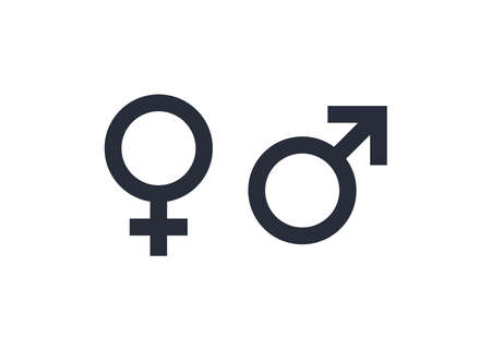 Gender symbol vector. Male and female icon. Vector illustration on white background Çizim