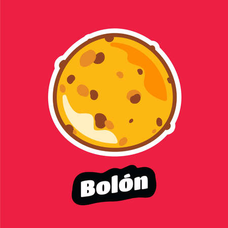 Ecuadorian bolon de verde or green plantain dumplings stuffed with cheese, peanuts, and / or pork chicharrones. Can also be made with shrimp. Vector Illustration