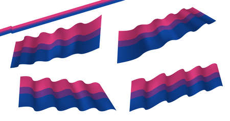 Bisexual flat and waving flag. Vector illustration. Flag wavy abstract background. Bisexual canvas movement lgbt