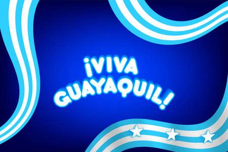 Ecuador, Guayaquil, banner and flag. GYE 3D icon, star flags. Vector illustration symbol. Guayas.