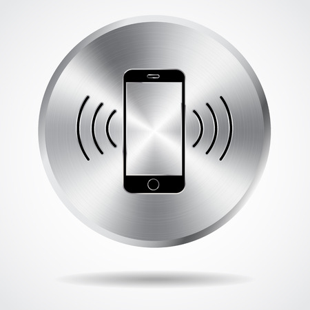 steel button: steel button and phone icon vector design