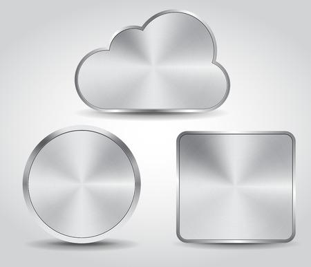 steel button: realistic steel button set vector design Illustration