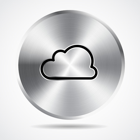 steel button: steel button and cloud icon vector design