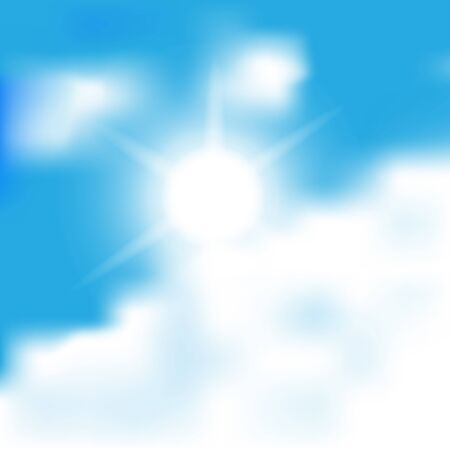 sun and cloud on blue sky blur vector background Vector