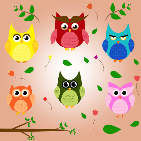 owl on branch: owl branch cartoon set animal character vector design