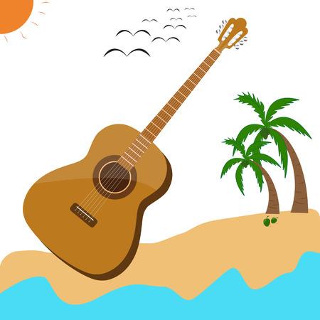 Guitar music musical acoustic summer poster vector desig Vector