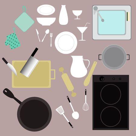 equipment: kitchen kitchenware equipment vector set Illustration