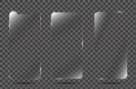 Realistic vector screen protector film or glass cover. Screen protector Glass