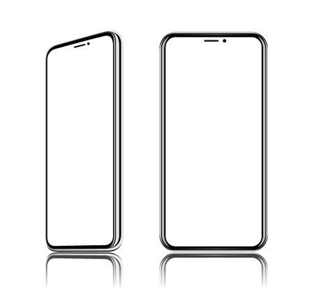 Phone realistic vector front view, it located obliquely, turn on the diagonal, isolated on white background. Banco de Imagens - 100966951
