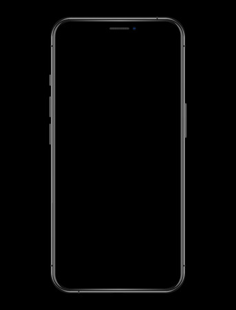 new phone with blank screen vector drawing isolated on black background Ilustrace