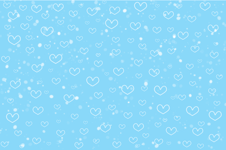 Cute heart shape and dot on sweet blue background in abstract style. Hand drawn raster illustration pattern for Valentine and Christmas theme or love concept for all design such as greeting cards.