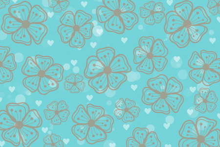 Beautiful and cute lite pink flowers with heart shape and dot pattern on blue background in vintage style by hand drawn illustration. Concept about lovely fresh blooming floral for wallpaper.