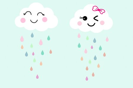 Pretty smile face white cloud on blue sky background and colorful raindrops. Concept about fresh and happy in raining day with friend. Hand drawn illustration technic wallpaper for clothes pattern. Stock Photo