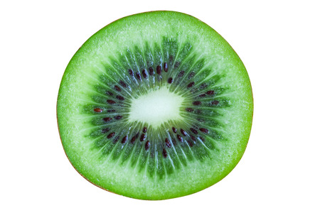 Fresh and juicy kiwi fruit with cross section cut in close up view macro concept on white isolated background with clipping paths. Kiwi have sweet and sour taste have high vitamin c and antioxidant.