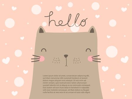 Cute big grey cat with smiling face look so funny on pastel pink background with text hello. Sweet and beautiful cat wallpaper in vector doodle art design with copy space decorate with heart and dot. Фото со стока - 131980225