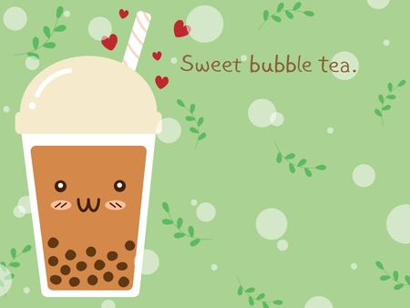 Sweet brown sugar bubble milk tea or boba tea in plastic cup with cute smile funny cartoon face. Trendy beverage in doodle illustration vector art design on pastel green background with copy space.