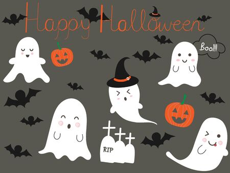 Halloween night background with cute white ghosts in funny face decoration with grave, orange pumpkin and fly bat. Illustration vector art design wallpaper for Halloween celebrate party on 31 October. Çizim
